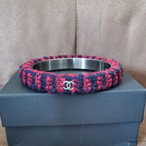 Authentic Tweed Chanel Bracelet Red Blue